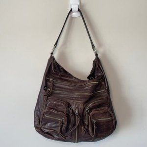 Tano Brown Leather Zippered Large Hobo Purse